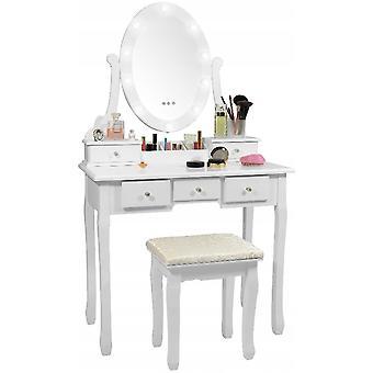 Puinen pukeutumispöytä valkoinen LED-valaistulla peilillä ja jakkaralla - 80x40x137 cm