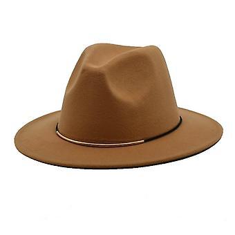 Fedoras Spring Wool Hats And Men Jazz Caps, Wide Brim Gentleman Elegant