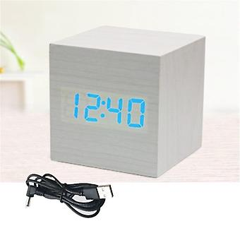 Nouveau multicolore Led Wooden Alarm Watch Table Voice Control Digital Wood