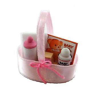 Panenky Dům Miniaturní školka Příslušenství Dětské výrobky v růžovém hedvábném koši