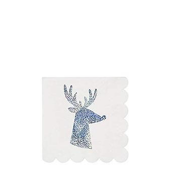 Meri Meri Silver Sparkle Reindeer Small Christmas Cocktail Paper Napkins x 16