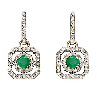 Elements Gold 9ct Emerald Illusion Setting Diamond Art Deco Yellow Gold Earrings GE2358G