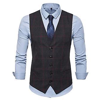 Men's Business Casual schlanke Westen, karierte einzelne Knöpfe fit, männlicher Anzug