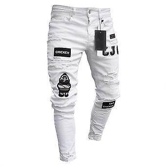 Men Stretchy Ripped Skinny  Moto & Biker Embroidery Print Jeans Destroyed Hole