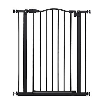PawHut 74 - 84cm Adjustable Metal Pet Safety Gate Stairs Barrier Auto Close Door Double Locking 94cm Extra Tall Black