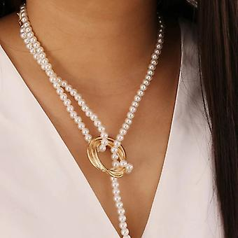 Coin Knot Pendant Pearl Long Chain Necklace