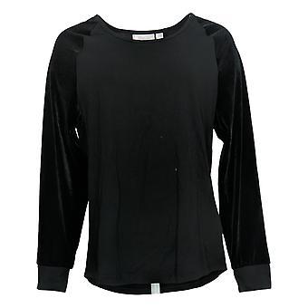 Belle Par Kim Gravel Women's Top Velvet Sleeve Raglan Black A383526