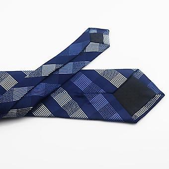 Men Classic Polyester Woven Plaid Dots Party Necktie