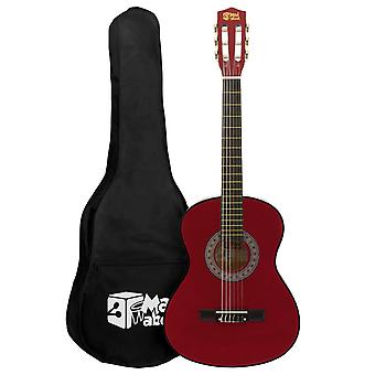 Red 1/4 Classical Guitar by Mad About - Colourful Guitar with Bag