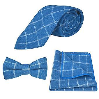 Azure Blue Birdseye Check Tie, Vlinderdas & Pocket Vierkante Set