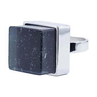Large Raw Crystal Cube Stone Silvertone Fashion Ring