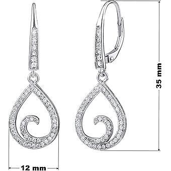 SILVEGO Damen Ohrringe aus 925 Sterling Silber Tropfen mit Zirkonia