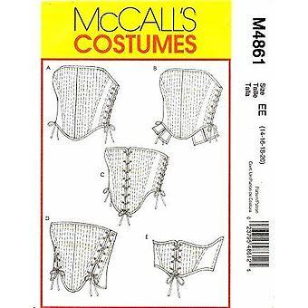 McCalls نمط الخياطة 4861 يفتقد كورسيهات الحجم 14-20 غير المصقول