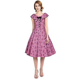 Chic Star Lace Retro Dress En Rosa / Nieve