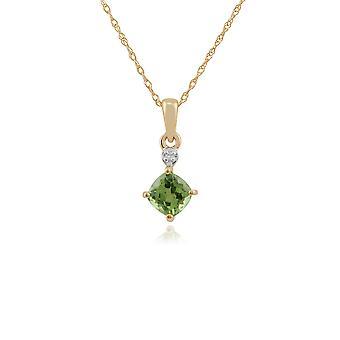 klassisk firkantet peridot & diamant anheng halskjede i 9ct gult gull 135P1642039