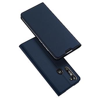 Dla moto g8 power case shockproof anti fall flip klapka pokrywa niebieski
