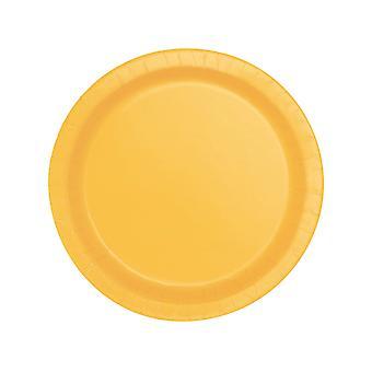 20 Kleine borden geel karton zonnebloem 17 cm