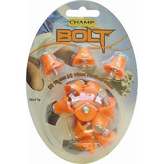 Champ Bolt 1 Colour Nylon Steel Tip Football/Rugby Studs Orange