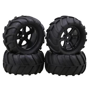 4Piece gumená pšeničná pneumatika 6 lúčové koleso pre RC 1:16 Veľkéfoot auto