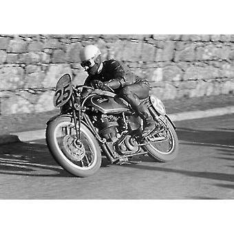 Les Graham (Velocette) 1952 Lightweight Ulster Grand Prix. Large Framed Photo. Les Graham.