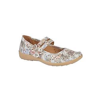 Boulevard L730fm Ladies Faux Leather Mary Jane Shoes Multi Floral