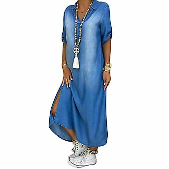 Womens Casual Denim Long Maxi Klänning Damer Sommar Lösa Jeans