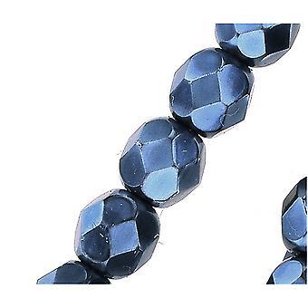 """חרוזי זכוכית צ'כית מלוטשת 6 מ""""מ עגול מלא פנינה - כחול חיל הים (25)"""