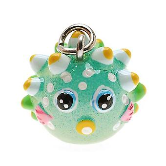 Jewelry Charm, 3-D Hand Painted Resin Puffer Fish 17mm, 1 Piece, Multi-Colored