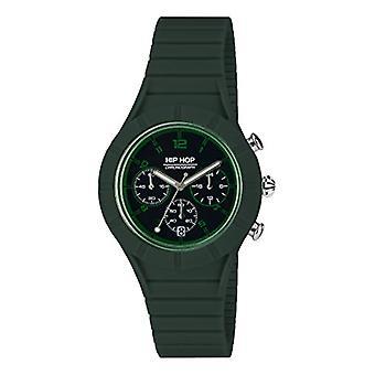 Men's HIP HOP watch X MAN black dial and silicone strap, green metal, CHRONO QUARTZ movement