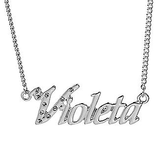 """L Violeta - Hvidguld belagt halskæde 18 kt med brugerdefineret navn, justerbar kæde af 16 """"- 19"""", i regal emballage"""