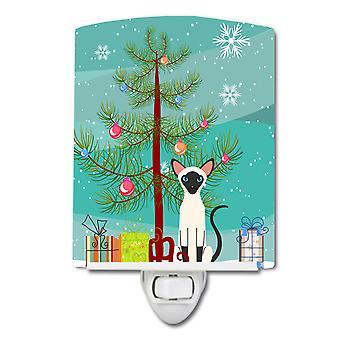 Caroline Schätze Siam Katze Frohe Weihnachtsbaum Keramik Nachtlicht, 6 x 4, multicolor