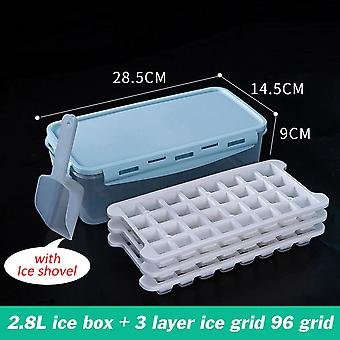 Ice Tray Tray Silicone Ice Tray Container Box with mold maker bar accessories for cold drinks(Blue)