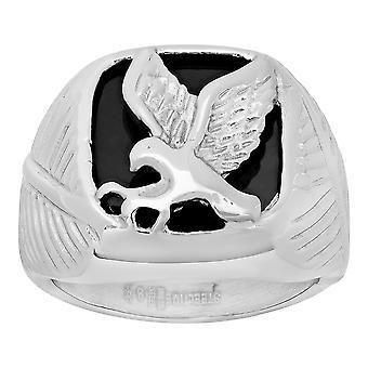 Roestvrij staal heren eagle zwart email comfort fit fashion band ring sieraden geschenken voor mannen - ringmaat: 9 tot 12