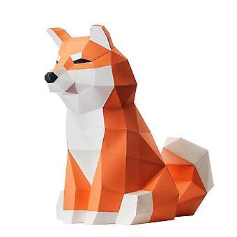 Akita Koira Geometrinen Origami 3D Eläinpaperi Malli 3D Puzzle DIY Sarjat