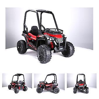 ES-Toys barn elbil elbil 370, tvåsitsig, EVA-däck, lädersäte