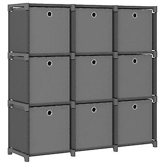 Schrank mit 9 Fächern mit Boxen 103X30X107,5 Cm Stoff grau