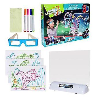 Dinosaure 3D planche à dessin fluorescente pour enfants jeu led planche à dessin coloré clignotant tableau de graffiti océan espace dinosaure az11608