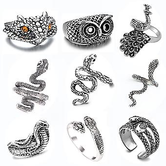 9pcs Animal Ring Set Zodiac Eagle Snake Silver Plated Alloy Finger Ring For Party