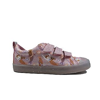 Clarks Foxing Print Kids Pink Canvas Girls Casual Shoes