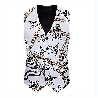 Pánská bílá hvězda s potiskem Jednořadová vesta Gothic Steampunk Victorian Brocade Vestcoat(L)