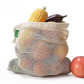 Baumwolle Mesh Tasche Baumwolle Mesh Einkaufstasche Gemüse und Obst Tasche Drawstring Drawstring Tasche