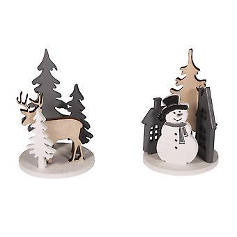 2 Mini puinen 7 cm joulu kohta uksia Craft Kit | Puiset joulu muodot