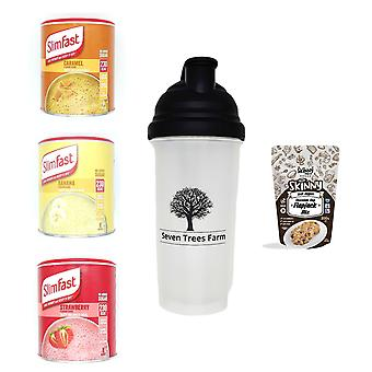 Seven Trees Farm Kit with 5 products | 1 x Caramel, 1 x Banana, 1 x Strawberry Shakes, 1 x Shaker and 1 x Chocolate Chip Flapjack Mix, Adopt a healthy lifestyle with our products!
