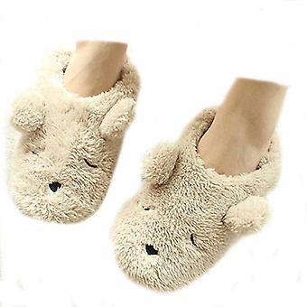 Womens Indoor Warm Fleece Slippers,lovely Cartoon Bear Winter Soft Cozy Thermal Non-slip Fuzzy Plush