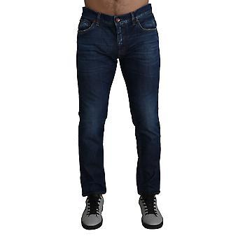 Blue washed skinny denim cotton stretch jeans