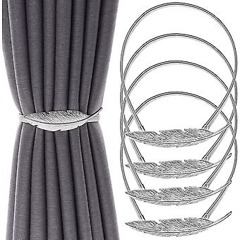4 Pcs Stretchy Metal Tiebacks Curtain Holders Bands For Thick Window Drapes Hold
