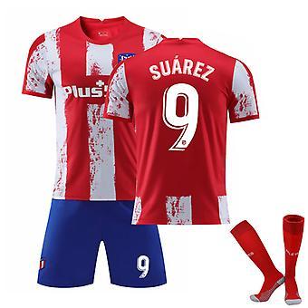 Luis Suarez #9 Jersey Home 2021-2022 Ny säsong Atletico Madrid Fotboll T-Shirts Jersey Set för barn ungdomar