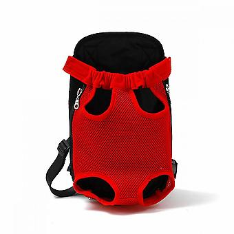 Pet Cats And Dogs Go Out Portable Chest Breathable Red Backpack (m Size)