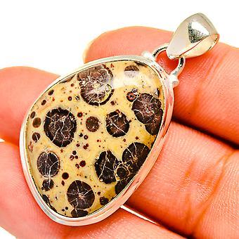 "Poppy Jasper Pendant 1 3/8"" (925 Sterling Silver)  - Handmade Boho Vintage Jewelry PD10657"