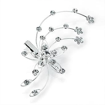 Elegant Crystal Silver Colour Hair Clip Wedding Prom Party